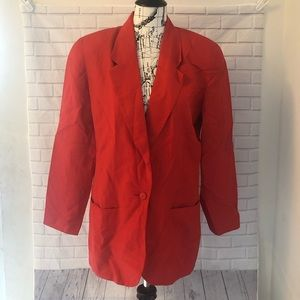 Saks Fifth Avenue The Works red linen blazer
